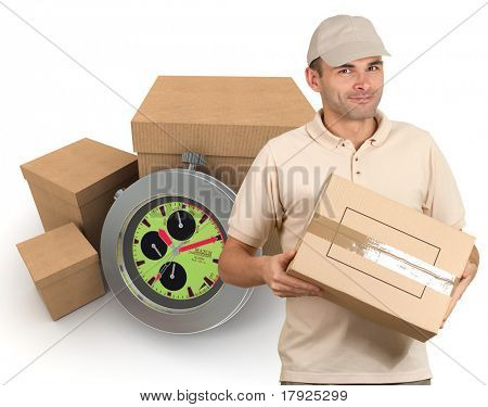 Isolated image of a messenger delivering a parcel with packages and a chronometer as a background