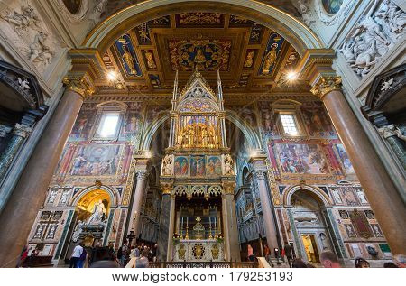 ROME, ITALY - MAY 14, 2014: Interior of the Basilica di San Giovanni in Laterano (Papal Archbasilica of St. John Lateran).This basilica is the most important in the Catholic world.