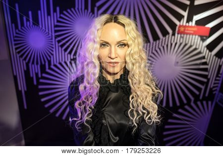 Bangkok-jan 29:: A Waxwork Of Madonna On Display At Madame Tussauds On January 29, 2016 In Bangkok,