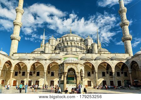 ISTANBUL, TURKEY - MAY 26, 2013: The Blue Mosque (Sultanahmet Camii). The Blue Mosque is a historical monument and a beautiful mosque.