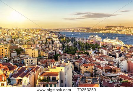 Istanbul at sunset, Turkey. Bosphorus divides the city into the Asian and European parts. View from the European side.