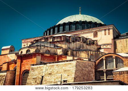 Hagia Sophia in Istanbul, Turkey. Basilica of Hagia Sophia is the greatest monument of Byzantine Culture.