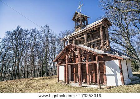 Old wooden chapel. Christian pilgrimage site - Marianska hora Levoca - Slovakia