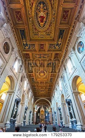 ROME, ITALY - MAY 14, 2014: The ceiling of the Basilica di San Giovanni in Laterano (Papal Archbasilica of St. John Lateran).This basilica is the most important in the Catholic world.