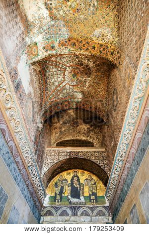 ISTANBUL, TURKEY - MAY 25, 2013: Ceiling of the entrance to the Hagia Sophia. Hagia Sophia is the greatest monument of Byzantine Culture. It was built in the 6th century.