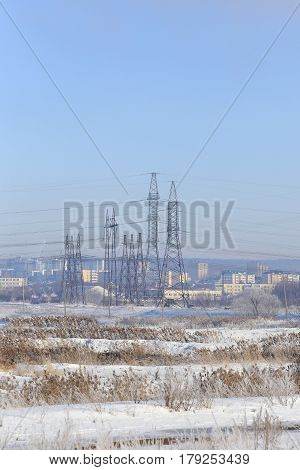 High Voltage Power Lines In The Winter
