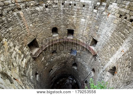 Inside the tower of the Yedikule Fortress (Castle of Seven Towers) in Istanbul, Turkey. Dungeon of the castle.