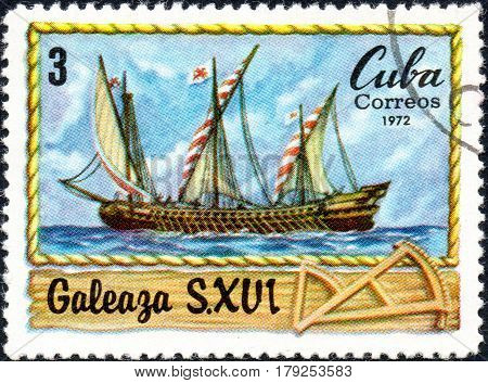 UKRAINE - CIRCA 2017: A postage stamp printed in Cuba shows Italian vessel Galleass S. XVI circa 1972