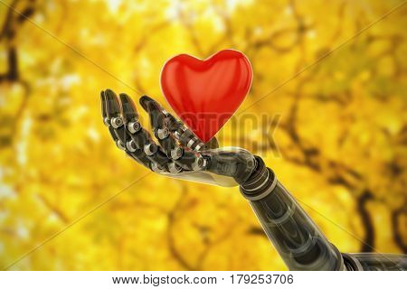 3d image of bionic person holding heard shape decoration against branches and autumnal leaves