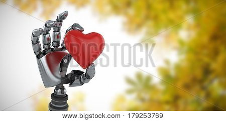 Three dimensional image of robot showing red heard shape decoration against autumnal leaves against the clear sky 3d