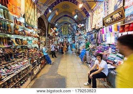 ISTANBUL - MAY 27, 2013: The Grand Bazaar, Turkey. The Grand Bazaar is the oldest and the largest covered market in the world with 61 covered streets and over 3000 shops.