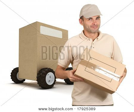Messenger delivering a parcel with a huge box on wheels on the background