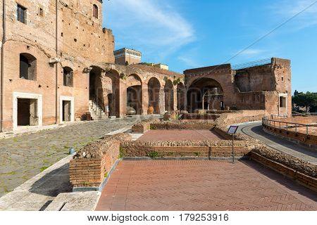 Ruins of Market of Trajan in Rome, Italy
