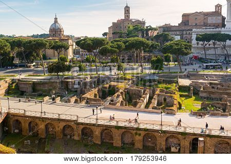ROME, ITALY - MAY 8, 2014: View of the Forum of Trajan.