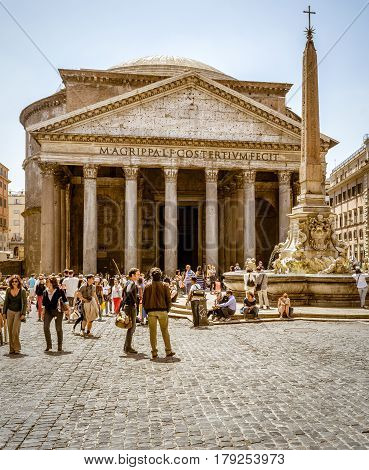 ROME, ITALY - MAY 9, 2014: Roman Pantheon on the Piazza della Rotonda. Pantheon is a famous monument of ancient Roman culture, built in the 2nd century.