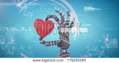 3d image of robot hand holding red heard shape decoration against digital generated image of blue dial