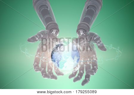 Composite image of robotic hands against green background against digitally generated image of illuminated volume knob 3d