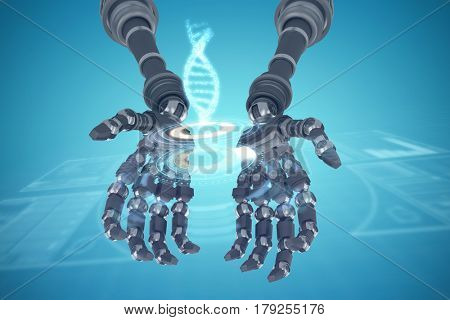 Composite image of robotic hands against white background against composite image of illuminated volume knob with dna strand 3d