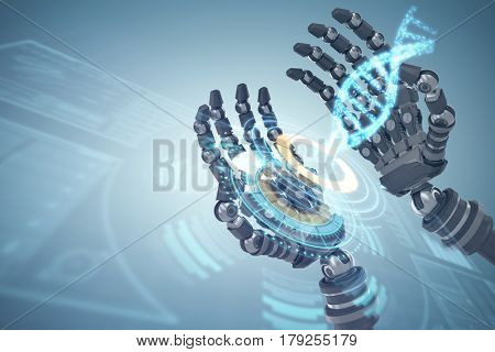 Composite image of robotic hands against white background against digitally generated image of illuminated volume knob with dna strand 3d