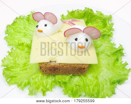 creative sandwich with cheese and mice made of eegs