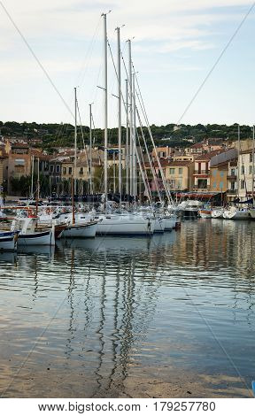 Scenic image of Cote d`Azur port with yahts, France