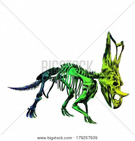 the skeleton of the dinosaur Triceratops color image color gradient; blue green and yellow colors sketch vector