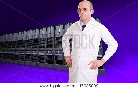Technician in a white robe on a background of server computers