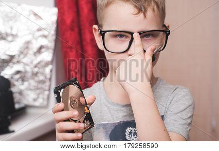 Little Boy In Big Glasses, Smart, Student,