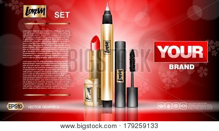 Cosmetic set ads template, mascara and eyeliner, lipstick collection cover mockup. Red background fragrance. Dazzling effect background. 3D Realistic Vector illustrations