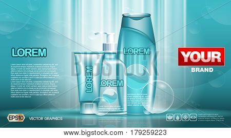 Cosmetic set ads template, moisturizing lotions collection cover mockup. Dazzling effect background. Cream, spray bottle, tubes. 3D Realistic Vector illustration