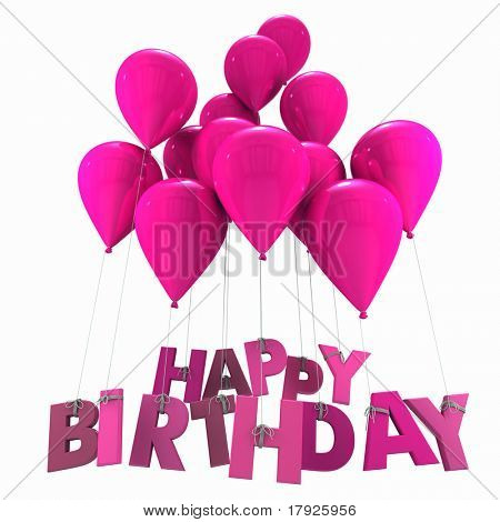 3D rendering of a group of balloons with the words happy birthday hanging from the strings in pink shades