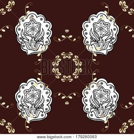Seamless vintage pattern on brown background with golden elements and with white doodles. Christmas snowflake new year.
