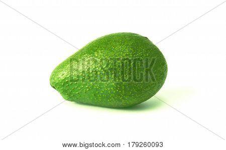 Ripe green avocado on a white background