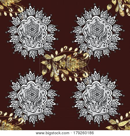 Ornate vector decoration. Seamless damask pattern background for sketch design in the style of Baroque. Golden pattern on brown background with golden elements.