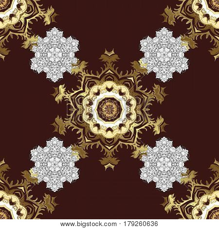 Vector golden floral ornament brocade textile pattern white doodles. Seamless golden pattern. Brown background with golden elements. Metal with floral pattern.