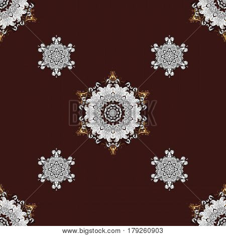 Golden pattern on brown background with golden elements. Seamless vintage pattern on brown background with golden elements. Christmas snowflake new year.