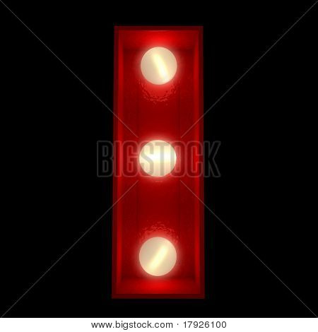 3D rendering of a glowing letter I ideal for show business signs