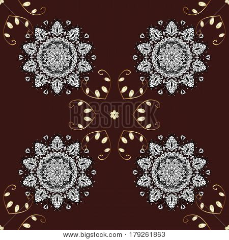 Seamless golden pattern. Vector oriental ornament. Golden pattern with white doodles on brown background with golden elements.