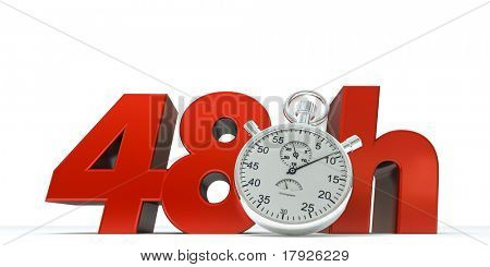 3D rendering of 48 Hrs in red letters with a stopwatch