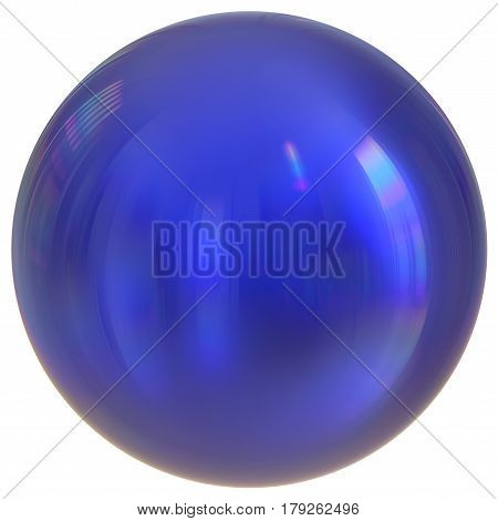 Blue sphere round button ball basic circle geometric shape solid figure simple minimalistic atom element. 3d render illustration