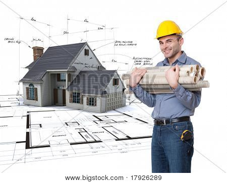 Young man with a safety helmet, a tape measure, holding lots of rolled up blueprints with a house project on the background