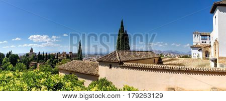 Alhambra in Granada. Panoramic view from the Alhambra over the city of Granada and the Arabian quarter Albaicin.