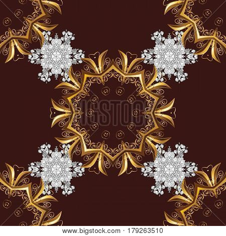 Vector vintage baroque floral seamless pattern in gold. Golden pattern on brown background with golden elements. Ornate decoration. Luxury royal and Victorian concept.