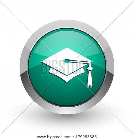 Education silver metallic chrome web design green round internet icon with shadow on white background.