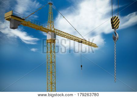 Studio Shoot of a crane against blue sky with clouds