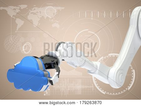 Digital composite of White robot claw with blue cloud against white interface and cream background