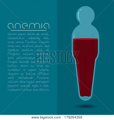 Anemia design concept. Human body shaped tube with red liquid.