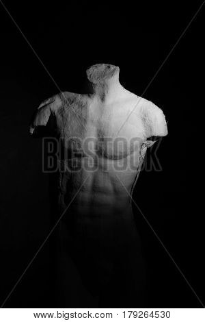 Manikin Body Over Dramatic Background. Anatomy, Muscle Concept.
