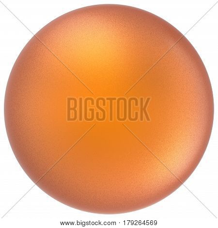 Orange sphere round button ball basic matted yellow circle geometric shape solid figure. 3D illustration isolated