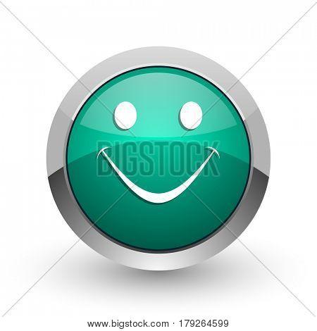 Smile silver metallic chrome web design green round internet icon with shadow on white background.